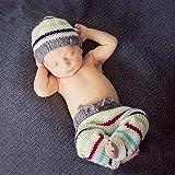 ZAM Babykleidung für Kinder, Fotografie, handgestrickt, gestreift, Wolle, Mütze + Hose (Farbe)