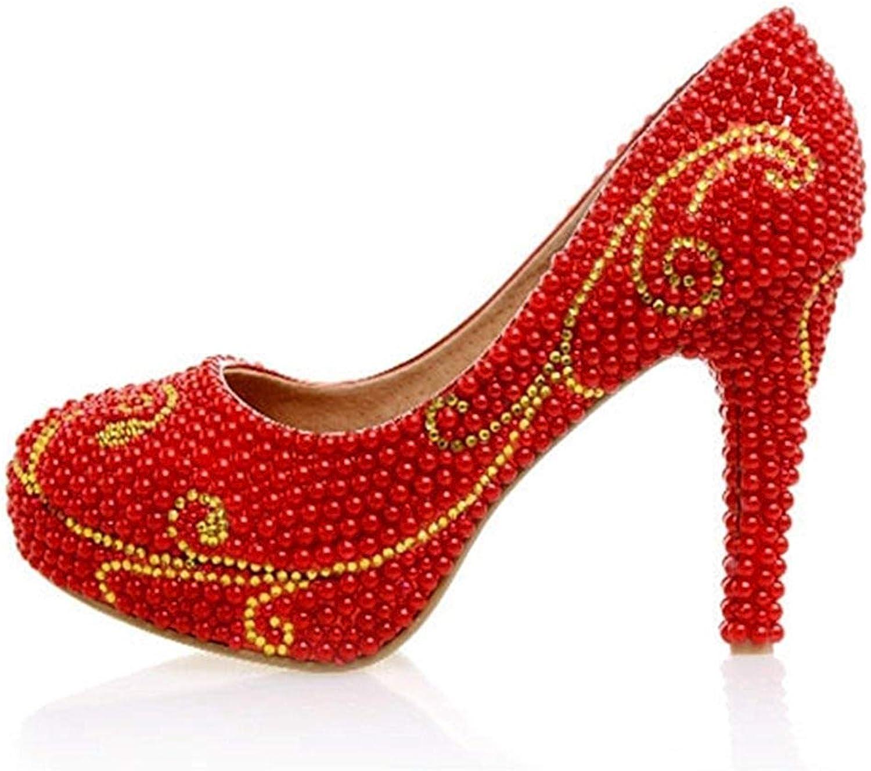 Qiusa Damen Perle Perle Perle Perlen 4 Heel rot Wedding Performance Pumps Schuhe UK 5 (Farbe   -, Größe   -) a756c2