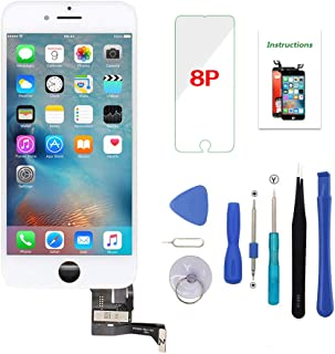 Screen Replacement for iPhone 8 Plus White 5.5 inch 3D Touch LCD Screen Digitizer Replacement Frame Display Assembly Set w...