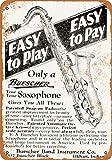 Buescher Saxophones Vintage Aluminum Metal Signs Tin Plaques Wall Poster for Garage Man Cave Beer Cafee Bar...