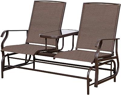 Mocha PatioPost Sling Glider Outdoor Patio Chair Textilene Mesh Fabric