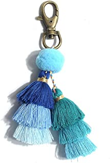 Pom Pom Tassel Keychain for Women - Car Mirror Hanging Keyring Accessories, Bag Charm for Sisters, Friends, Kids