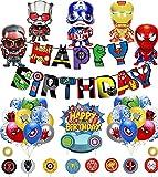 Superheroes Globos Decoracion Cumpleaños de Superhéroe Feliz Cumpleaños del Pancarta Superheroes Adornos de Pastel Superhéroe Marvel Cumpleaños Decoracion