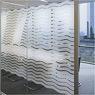 LEMON CLOUD Privacy Window Films Removable Decorative for Office Meeting Room Home(17.7In.by 78.7In,Waves Stripes)