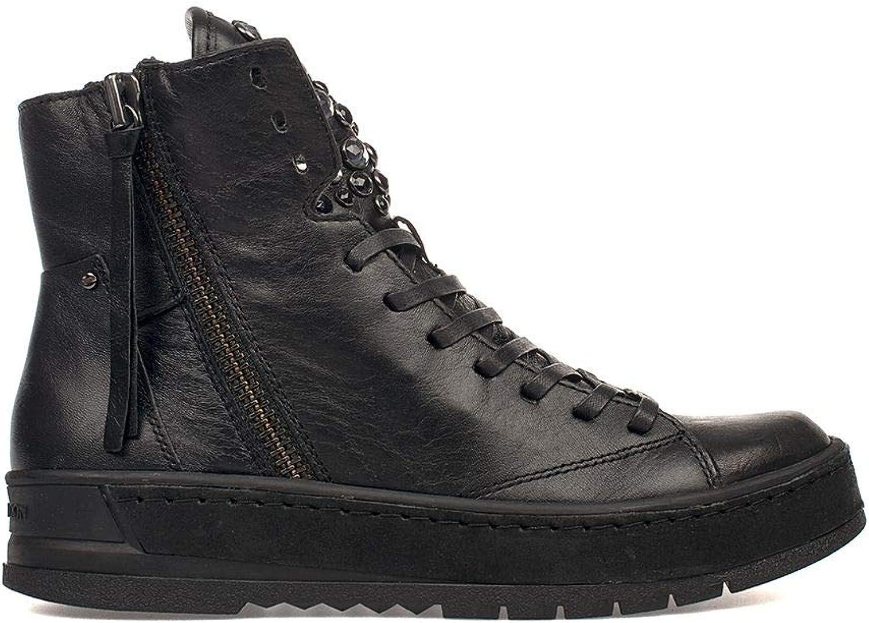 Crime London Women's 25401AA1B20 Black Leather Hi Top Sneakers