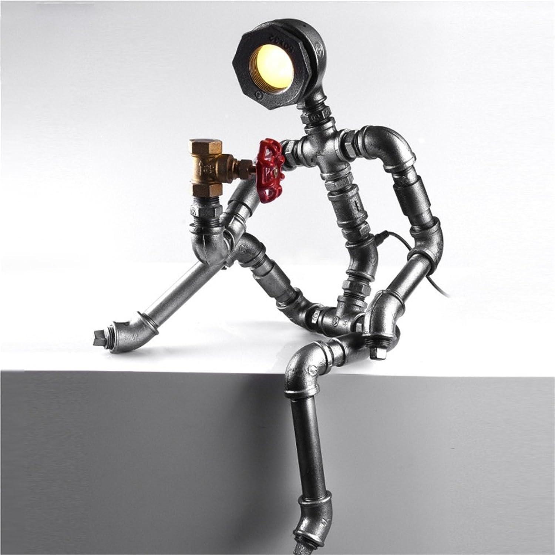 MEHE HOME-LED amerikanischen Retro Industrie Stil Wasserrohre Tischlampe Kreative Persönlichkeit Nachttischlampe B01G1CBICO       Komfort