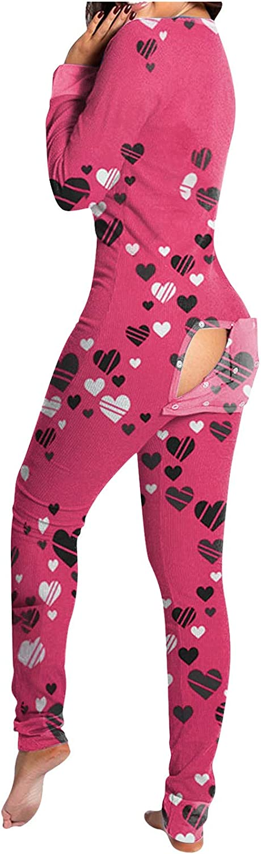 Tupenty Onesie Pajamas for Women, Womens Onesie Pajamas with Back Functional Buttoned Flap Long Sleeve Bodysuit Sleepwears