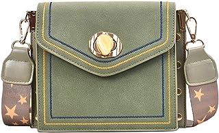 Frosted matte Crossbody bag Wide shoulder strap One shoulder Simple fashion Small square bag Green