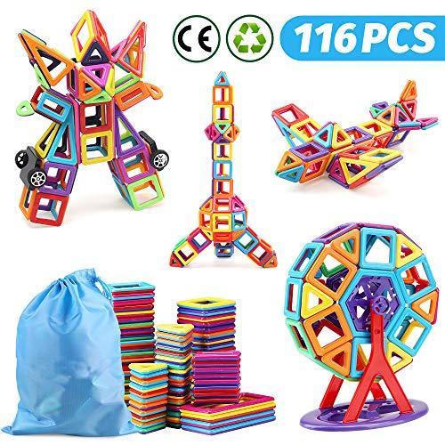 nicknack Magnetische Bausteine 116Stücke, Lernspielzeug, Kinderspielzeug, Geschenk mit tragbarer Tasche für 3 4 5 6 Jahre alte Jungen und Mädchen