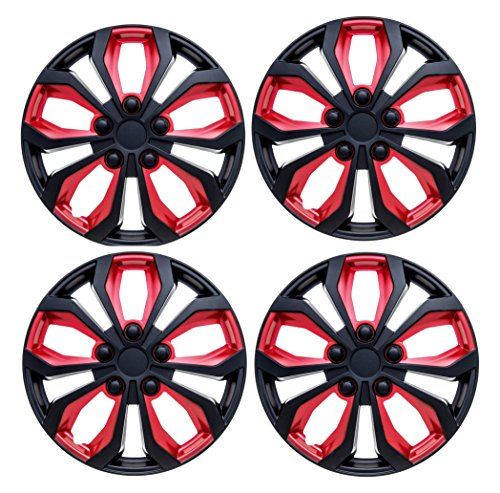 15 inch hubcaps black and red - 5