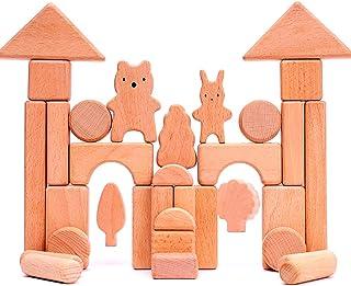 Wooden Building Blocks Educational Toy Sets, 33 Pcs Stacking Game Toys/Castle Building Planks Set for Kid Kindergarten