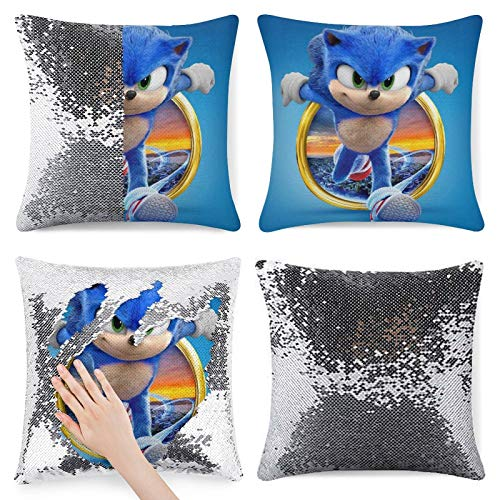 528 S-onic The Hedgehog Glitter Sequin Pillow case Fake case Cushion Cover Pattern Zipper Pillow case for Bedroom Sofa Sofa Chair Back seat
