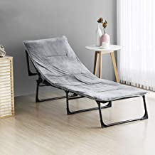 Single Folding Bed Frame, Camping Cot Single Bed with Metal Frame, Portabl Folding Guest Beds for Adults,Dark Grey190x30cm,Blackgreybed+cottonpad