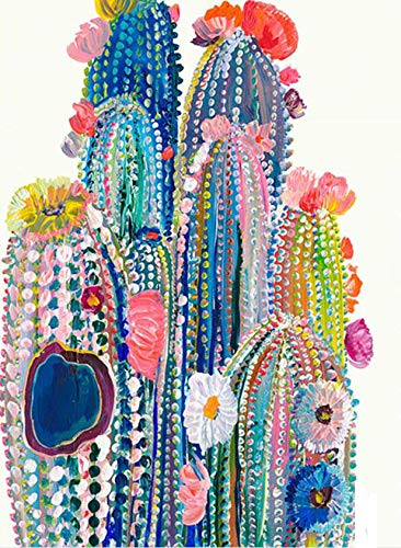 5D Diamond Painting Diamant Malerei Painting Bilder, Wowdecor Bunt Kaktus Pflanze Blumen Full Set Groß DIY Diamant Gemälde Malen Nach Zahlen