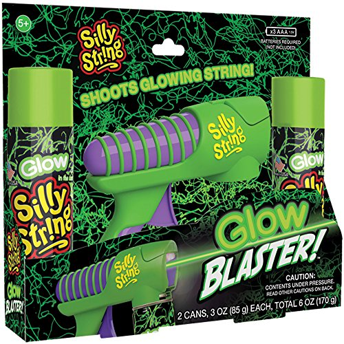 SILLY STRING Glow Blaster with Recharging Flip Up Light - Shoots Glowing Streamers in The Air - 2 Cans of Glow in The Dark Included