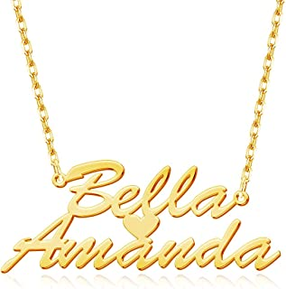 Sponsored Ad - DesignForYou Custom Name Necklace with Heart, 18K Gold Plated Personalized Nameplate Jewelry for Women