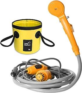 AUTOPkio Kit de cubo plegable portátil de la ducha al aire libre, cabezal de ducha que acampa enchufe en el adaptador del cigarrillo 12V y da vuelta al agua en la corriente apacible constante