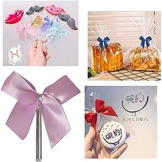 50 Piezas Lazos Decorativos nudo de mariposa Alambre Metálico para Bolsas de Dulces Galleta, caramelo