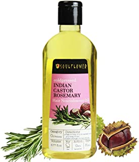 Soulflower Cold Pressed Castor & Rosemary Hair Nourishment Oil- Top 100% Pure Castor & Rosemary Oil For Hair Growth & Hair Loss, 6.77 Fl.Oz- Natural Hair Oil For Unique Shine + BONUS Travel Mini Spray