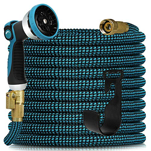 Expandable Garden Hose 100ft - Expanding Water Hose with 10 Function Nozzle and Solid Fittings Connectors, Easy Storage Garden Water Hose