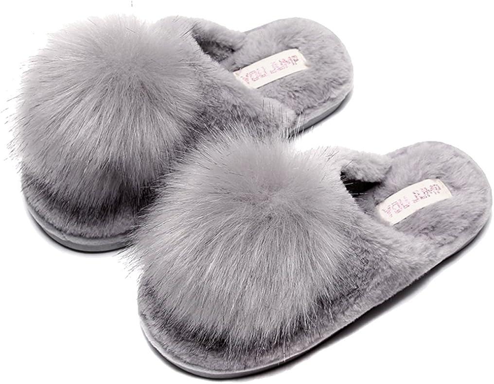 FreLO Women's Grey Plush Pom-pom Fuzzy Slippers Cute Fluffy Slippers