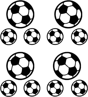 12 Footballs Wall Decal Vinyl Stickers, Removable Lovely Soccer Ball Picture Art DIY Sticker Mural for Kids Bedroom Playroom Living Room Home Window Door Decoration