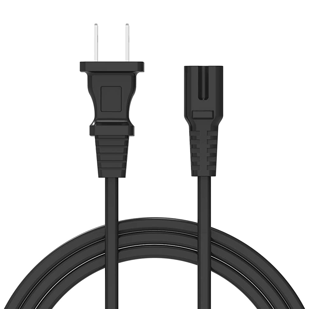 12Ft 2-Slot Power Cord 2 Prong AC Wall Cable for LED LCD TV, HP Dell Samsung Sony Asus Acer Toshiba Laptop Charger, Xbox One S Slim Game Console, Xbox One X, Sony PS2 PS3 PS4,PSP, PSV (Black, 1pack)