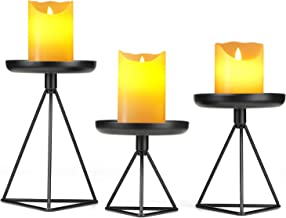 "Bikoney Candle Holder for Home Decor Candleholder for Pillar Candle Metal Geometric Candlesticks Set of 3 Black 7.25"", 5.5..."