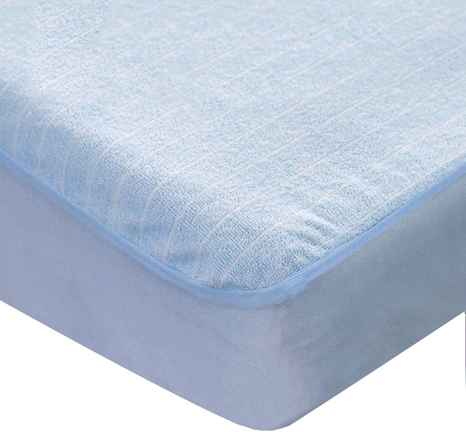 ZHAOHUI Mattress Predector Cotton Hypoallergenic Waterproof Non-Slip Dustproof Breathable Soft Skin-Friendly, 4 colors, 5 Sizes (color   bluee, Size   120X200cm)