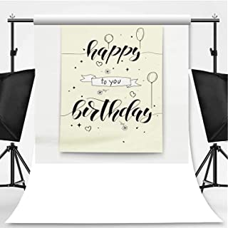 Happy Birthday Poster with Handwritten Text Photography Background,Hand Drawn Doodle in Sketch Style for Photo Studio,Pictorial Cloth:6x10ft