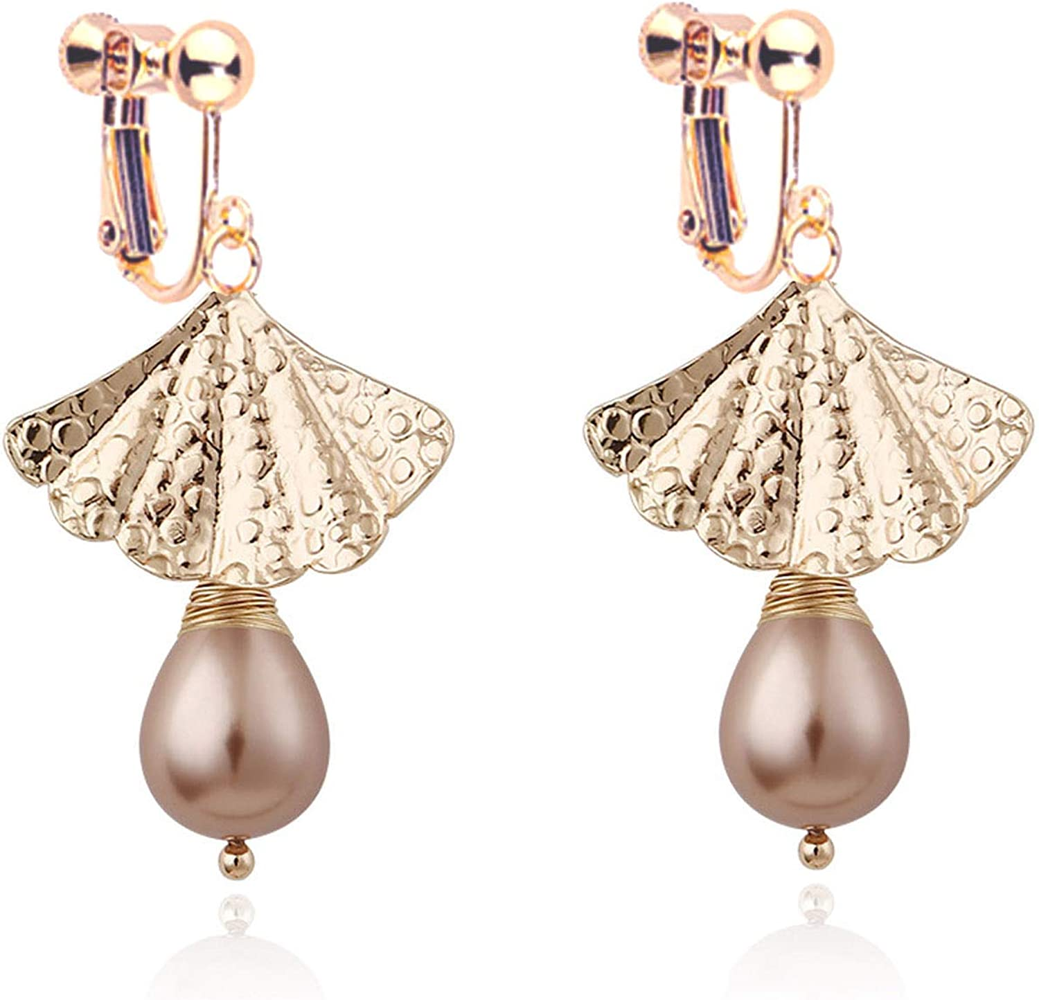 Dangle Earrings Clip on Earrings for Women Girls Fan Pink Pearl Bohemian Boho Drop Dangling Piecered or No Piecered Gold Tone Mother Day