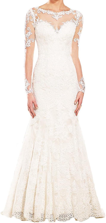 Alexzendra Women's Wedding Dresses For Bride 2018 Mermaid Bride Dress With Long Sleeve