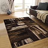 Allstar 5x7 Chocolate and Mocha Modern and Contemporary Rectangular Accent Rug with Ivory and Espresso Abstract Bidirectional Brush Design (4' 11 x 6' 11)