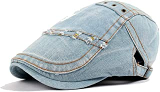 Beret Cap Wool Ladies Washed Denim Men's Tide Visor Forward Cap White Marble Pattern Accessories (Color : Light blue, Size...