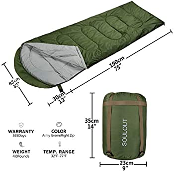 Sleeping Bag - 4 Seasons Warm Cold Weather Lightweight, Portable, Waterproof Sleeping Bag with Compression Sack for A...