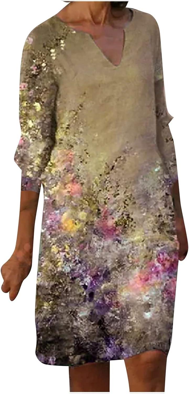 Dresses Maxi Dress Summer Dress Sundress Women Casual Floral Printing Loose Large Size V-Neck Mid-Length Dress