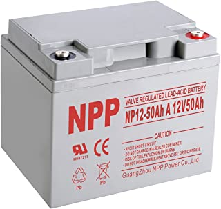 NPP NP12-50Ah A Rechargeable Sealed Lead Acid Scooter Wheelchair 12V 50Ah Battery with Button Style Terminals