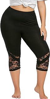 OULSEN Spring Women Leggings Plus Size Stretch Skinny Trousers Fashion Lace Spliced Yoga Sport Casual Long Pants Black