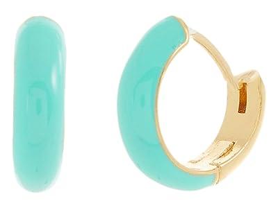 Kate Spade New York Candy Drops Enamel Huggies Earrings (Turquoise) Earring