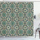 ABAKUHAUS orientalisch Duschvorhang, Retro Design, mit 12 Ringe Set Wasserdicht Stielvoll Modern Farbfest & Schimmel Resistent, 175x240 cm, Mehrfarbig