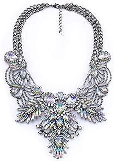 Karen accessories Vintage Collar Necklace Crystal Glass Flower Statement Chunky Bib Necklace for Women