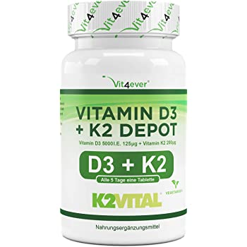 Vitamin D3 + K2 Depot - 180 Tabletten mit 5000 I.E + Vitamin K2 200 mcg pro EINER Tablette - 99,7+% All-Trans (K2VITAL® von Kappa) - Laborgeprüft - Hochdosiert
