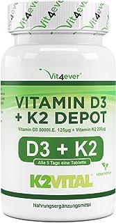 Vitamine D3 + K2 Depot - 180 tabletten met 5000 I.E + Vitamine K2 200 mcg per ÉÉN tablet - 99.7+% All-Trans (K2VITAL® by K...