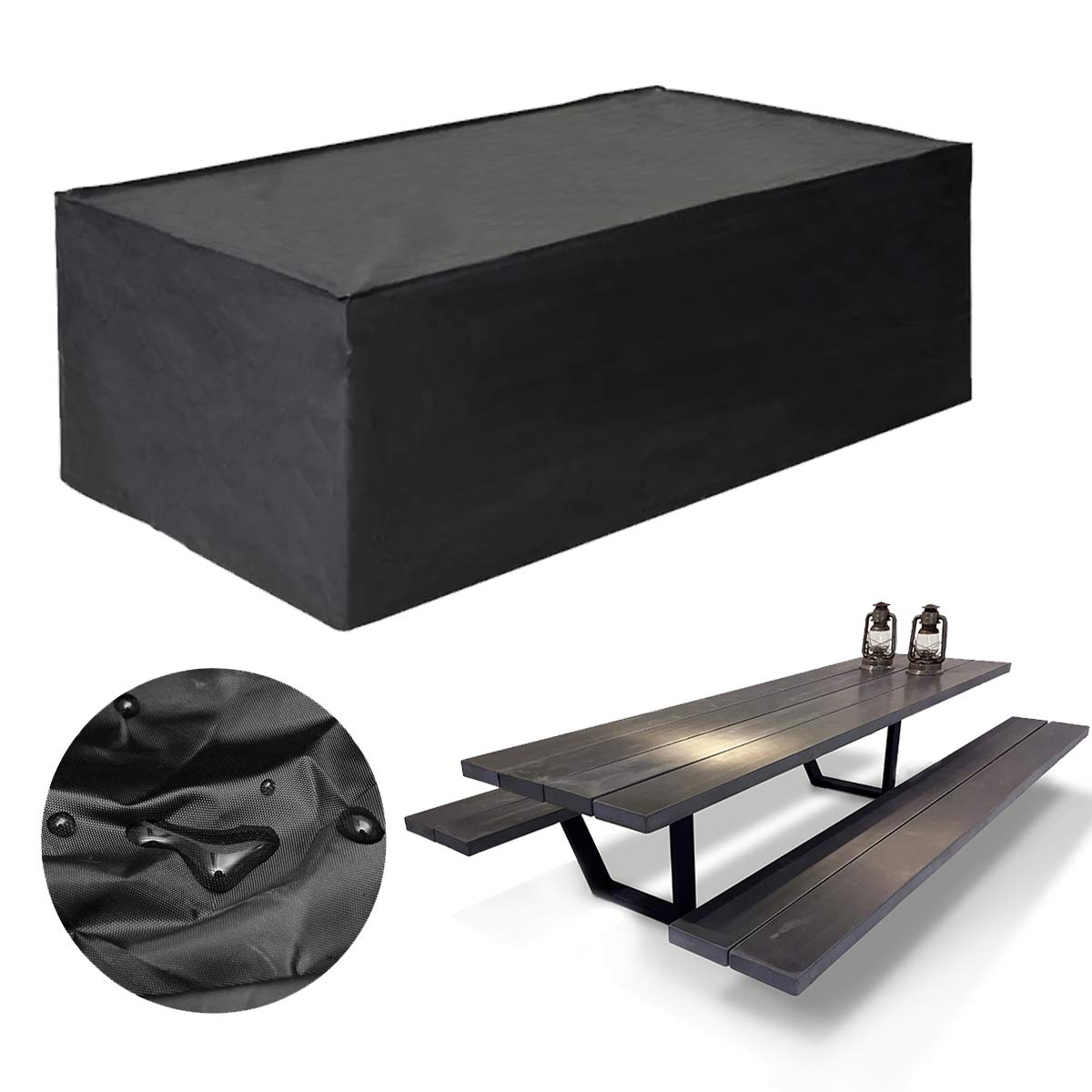 KING DO WAY Cubierta para Muebles de Jardín, Cubiertas Rectangular Impermeable con Corte Cuerda Lona para la Tabla/Silla de Playa (308 x 138 x 89 cm): Amazon.es: Jardín