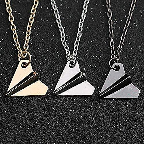 BEISUOSIBYW Co.,Ltd Halskette Mode 3 Stück One Direction Halskette Papier Flugzeug Anhänger Schwarz Pistole Gold Silber Farbe Einfacher Modeschmuck für Männer und Frauen