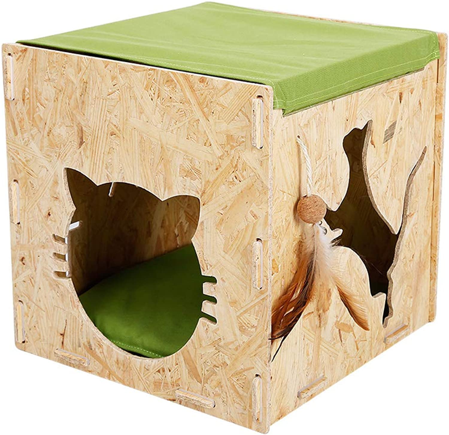 Kennel QIQIDEDIAN Pet Nest Dualuse Summer Cat Litter House Villa Wooden Cat House Solid Wood Cat Hammock Cat Nest