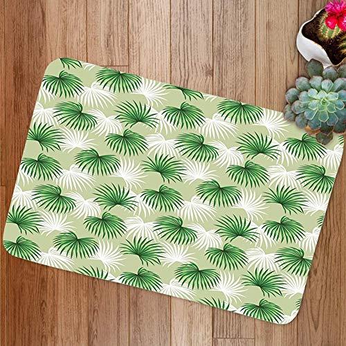 Yaoni Badezimmerteppich rutschfeste Badematte für Dusche Weicher Mikrofaserteppich, tropisches Blatt der Palme Livistona Rotundifolia Island Jungle Laub