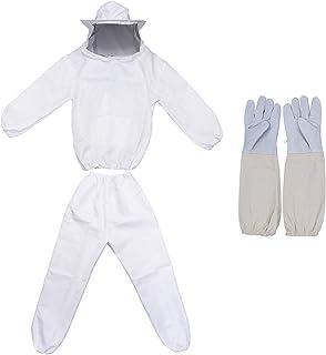 MTH養蜂用 防護服 蜂防護服 養蜂 防護服 上下服 フェイスネット 手袋 3点 セット白ワンサイズ