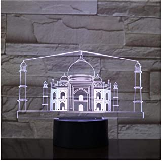 RENWUANG 3D Illusion lamp India Taj Mahal USB 3D Led Night Light Lamp Decoration Kids Baby Gift Famous Buildings Table Lamp Bedside neon