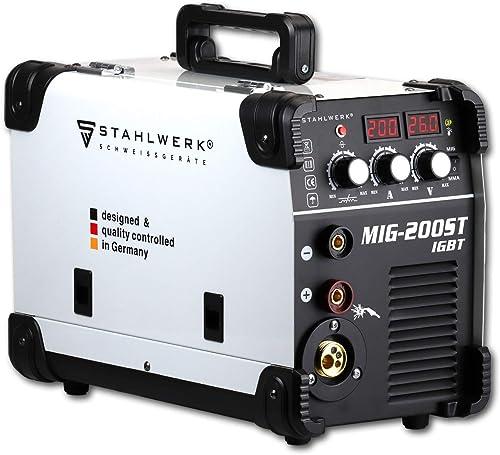Stahlwerk MIG 200 ST IGBT - Equipo de soldadura de gas de protección Mig Mag con 200 amperios, apto para alambre rell...